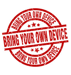 Bring your own device round red grunge stamp vector