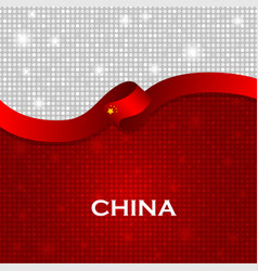 China flag ribbon shiny particle style vector