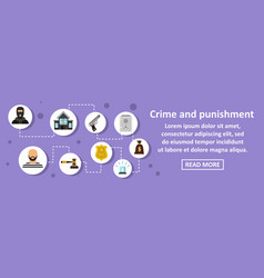 Crime and punishment banner horizontal concept vector