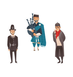 English policemen and gentleman scottish piper vector