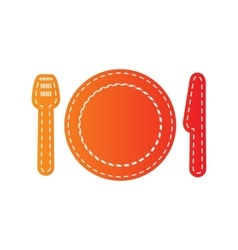Fork plate and knife Orange applique isolated vector image vector image