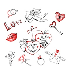 freehand drawing valentines day vector image vector image