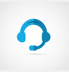 Headphones of call center vector