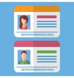 Id cards template with man and woman photo vector image