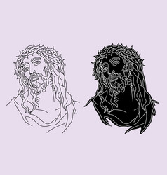 jesus christ face silhouette vector image vector image
