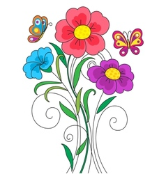Kidstyle flower vector image vector image