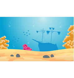 Landscape of underwater with ship silhouette vector