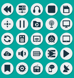 Media icons set collection of cloud cast mobile vector