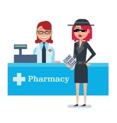 Mystery shopper woman in spy coat checks drugstore vector