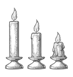 Process of candle burning vector