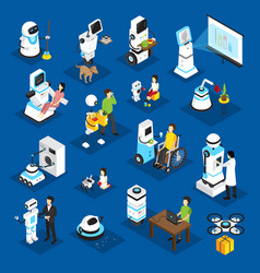 robots isometric set vector image