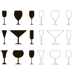 Set of vine glass silhouette and outline vector image vector image