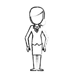 Sketch female girl faceless image vector