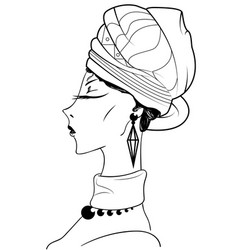 sketch of beautiful african woman vector image vector image