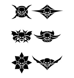 skull tribal tattoo set vector image
