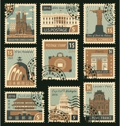 stamps with different architectural attractions vector image vector image
