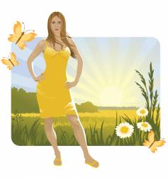 summer landscape and girl vector image vector image