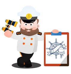 the captain in a white tunic with a large poster vector image vector image