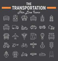 transportation line icon set transport symbols vector image