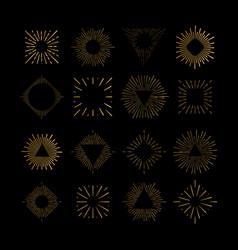 tribal boho gold sun burst frame fireworks vector image