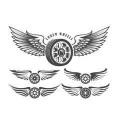 winged wheels emblem set vector image vector image