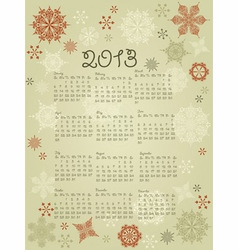 2013 Calendar with snowflakes vector image