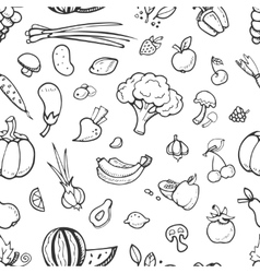Fruit and vegetable vegan food doodle sketch vector image