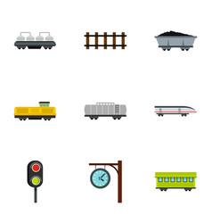 train icons set flat style vector image