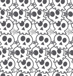 seamless black background with skulls vector image