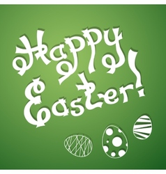 Text happy easter with festive eggs vector