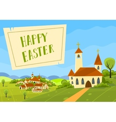 Spring easter card with village and church vector