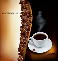 Desing with cup of coffee and beans vector