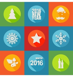 Happy new year 2016 flat icons set with berry vector