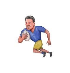 Rugby player running ball caricature vector