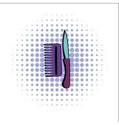 Comb and razor comics icon vector