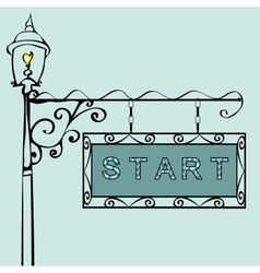 Start text on vintage street sign vector