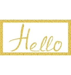 Hello lettering in gold vector