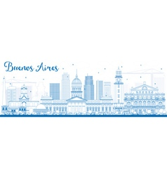 Outline buenos aires skyline with blue landmarks vector