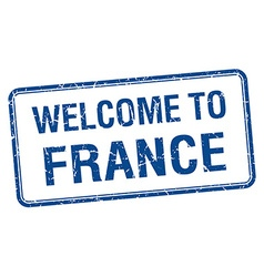 welcome to France blue grunge square stamp vector image