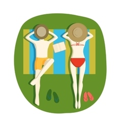 Sunbathing people vector