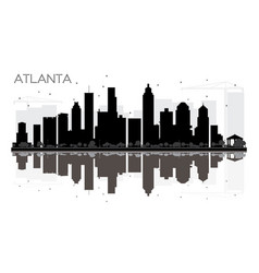Atlanta city skyline black and white silhouette vector