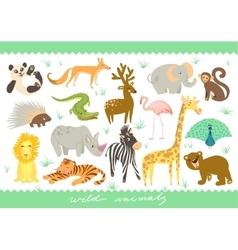 Big Set of Zoo cute animals vector image