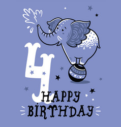 Birthday card for 4 year old baby vector