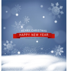 Christmas background with snow and snowflakes vector image vector image