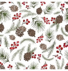 Christmas tree branches seamless patterncone vector
