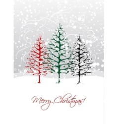 Christmas trees in forest postcard design vector image