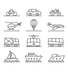 City transport icons set vector image vector image