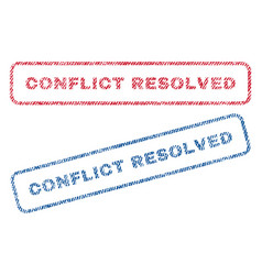 Conflict resolved textile stamps vector