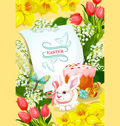 Easter and egg hunt poster with rabbit egg cake vector