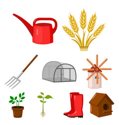 farm set icons in cartoon style big collection of vector image vector image
